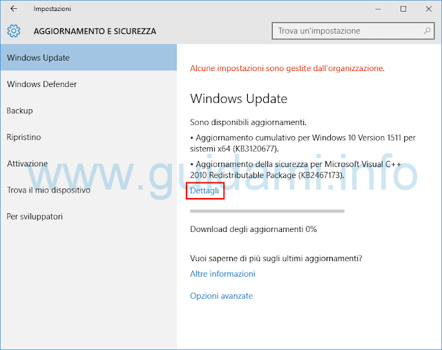 Windows Update Windows 10 Dettagli aggiornamento