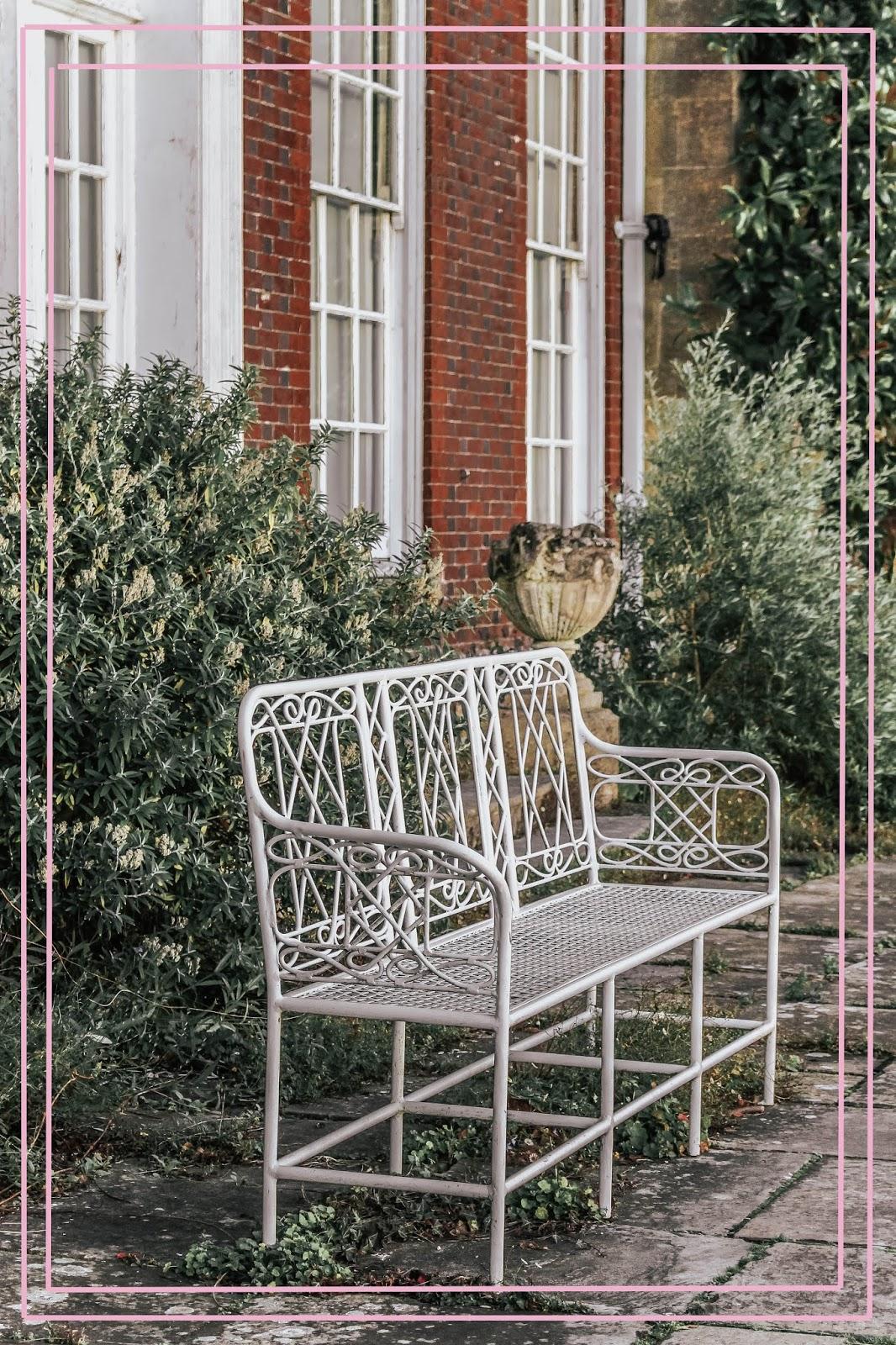 British Countryside Garden White Bench