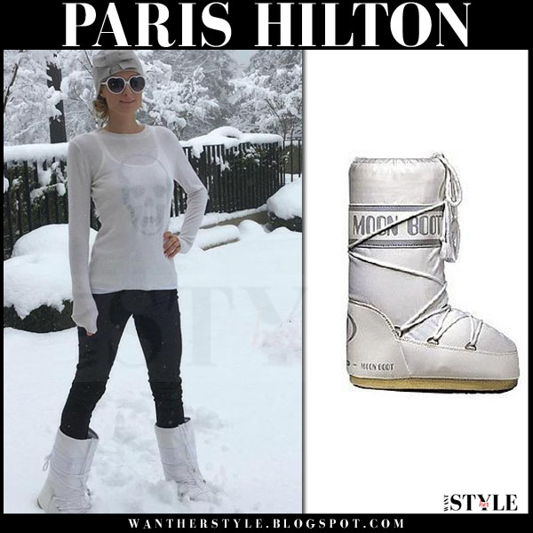 Paris Hilton in white snow boots from Tecnica winter fashion