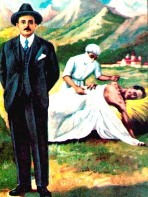 En la imagen al frete el Dr. Jose Gregorio Hernandez, al fondo como medico cuidando de un enfermo