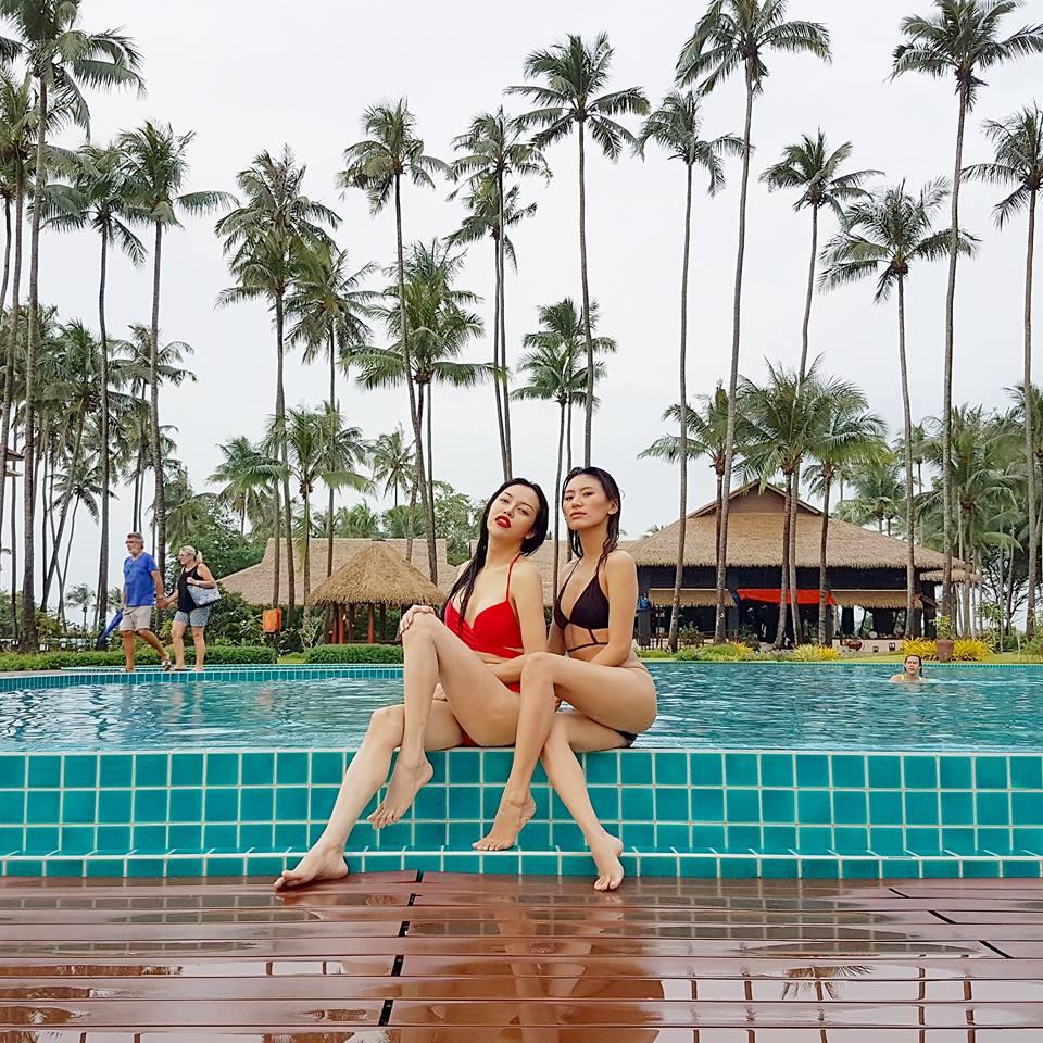 Ma Htet and Super Model Maria J Naw Enjoying At The Pool In Ngwe Saung Beach