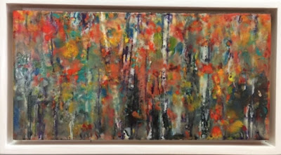 wax painting, encaustic, Birch trees