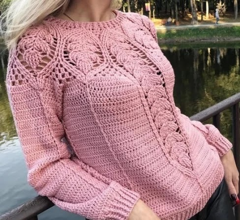 Wonderful crochet blouse with long sleeves - Free instructions
