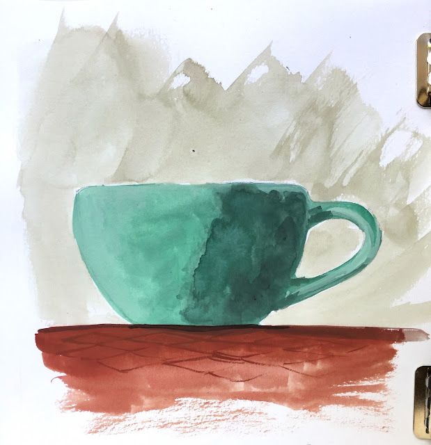 Daily Art 09-25-17 complementary color scheme gouache mug painting in Canson XL Mix Media sketchbook