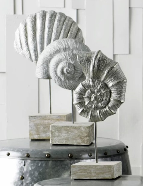 Seashell Sculptures on Pedestal Stands