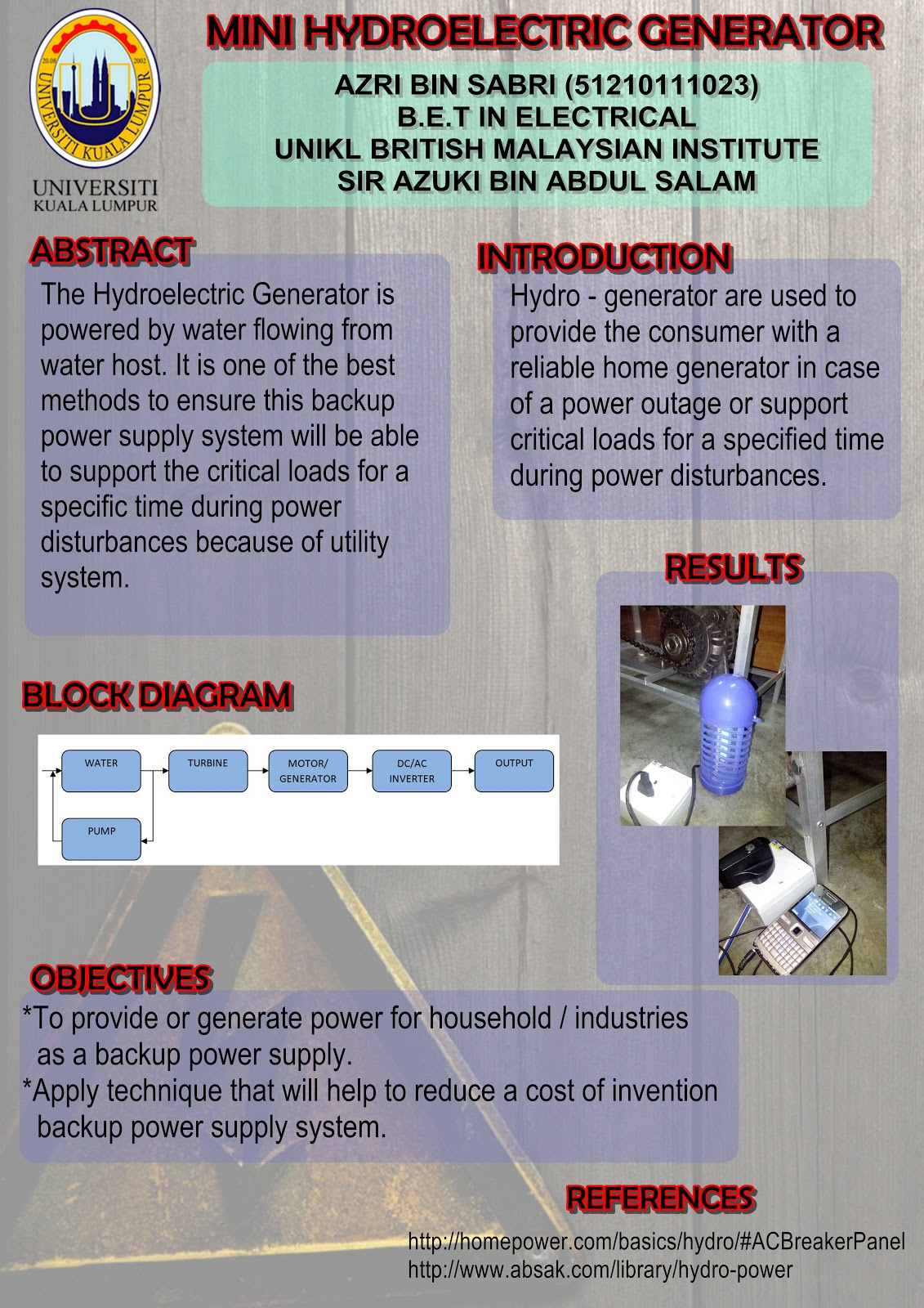 Final Year Project Mini Hydroelectric Generator Ac Schematic Diagram On Home Design The Poster For Presentation Day