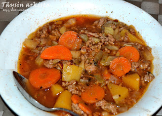 Minced meat-bacon soup