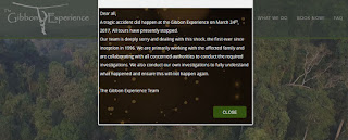 The Gibbon Experience notice posted on their website