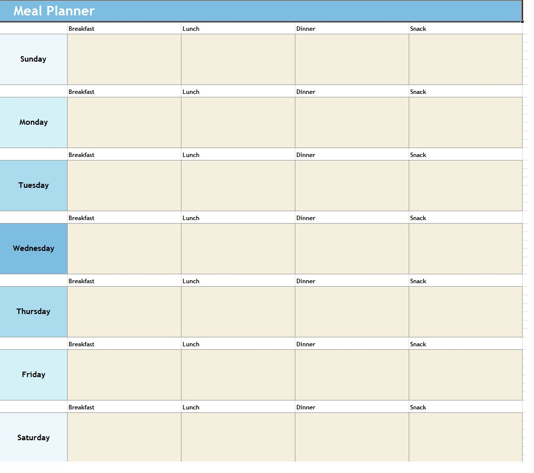 Weekly Meal Planner ~ Template Sample