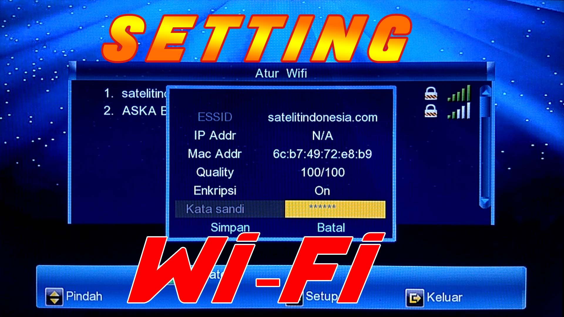 cara setting wifi ke receiver parabola LGsat BingBang Guoxin