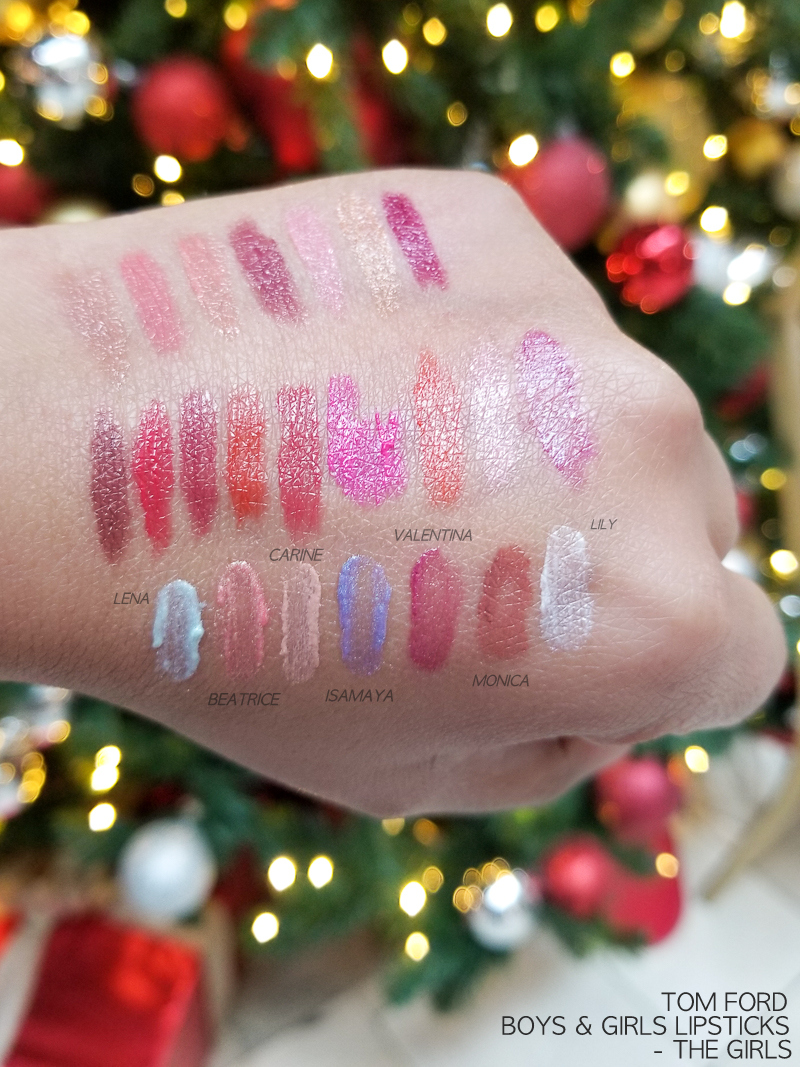Tom Ford Boys and Girls Lipsticks - Swatches - Lena - Beatrice - Carine - Isamaya - Valentina - Monica - Lily