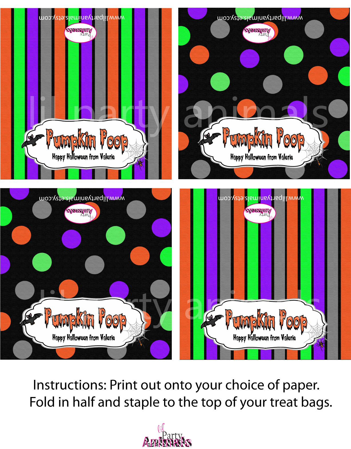 Lil Party Animals: Halloween treat toppers