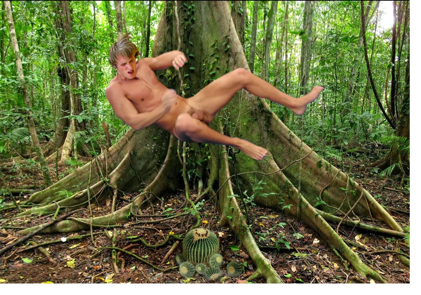 A naked girl is photographed in the wild jungle of the amazon