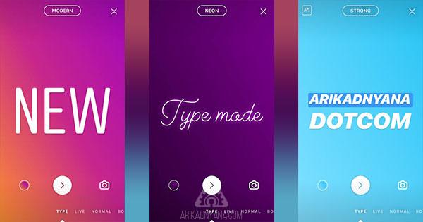 Cara Menggunakan Type Mode Instagram Stories Dengan Mudah