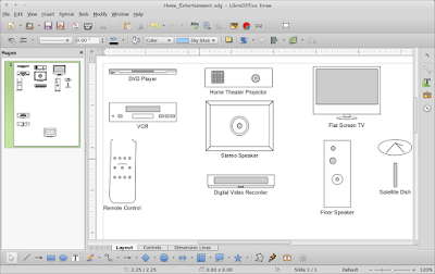 Cara MEnggambar Home Entertainment di LibreOffice Draw