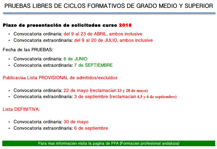 Ies Sabinar Pruebas Libres Eso 18 Ciclos Formativos