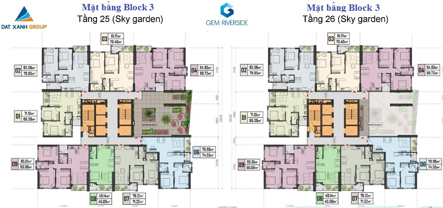 mặt bằng tầng 25-26 block 3