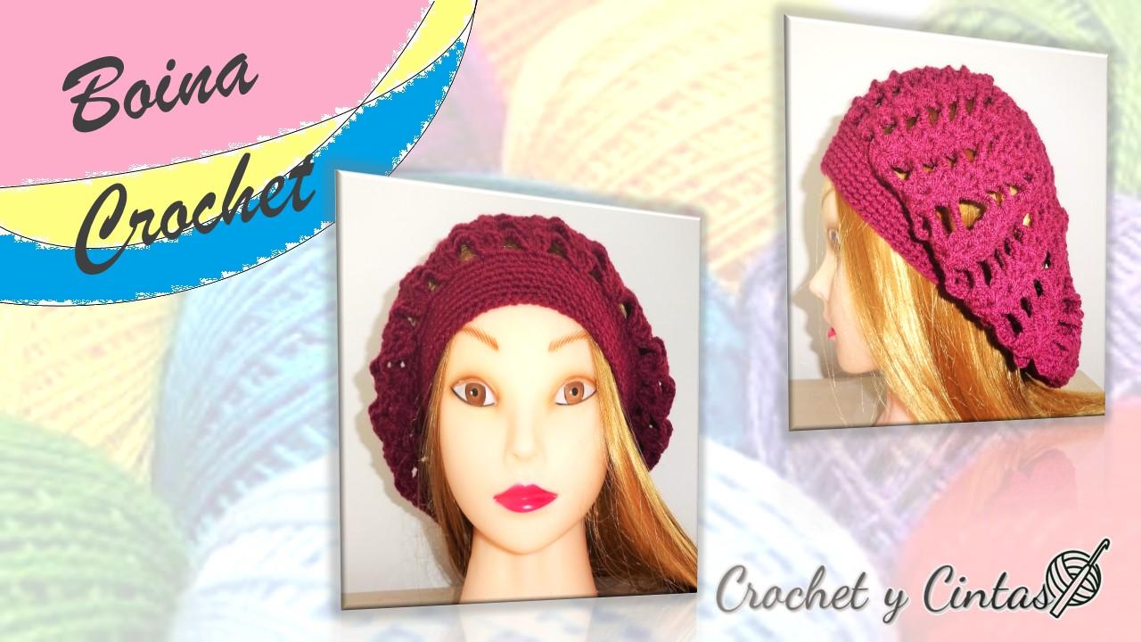 Boina caída tejida a crochet ~ Crochet y Cintas c7b9beeb64e