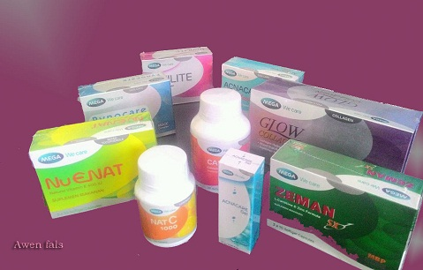 produk mega we care, glow enhanz, glow collagen, nuenat, zeman sx, pynocare white, nat c, alerten