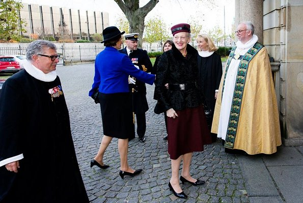 Queen Margrethe attended a service Danish Seamen's Church and Church Abroad's service. Queen style, fashion