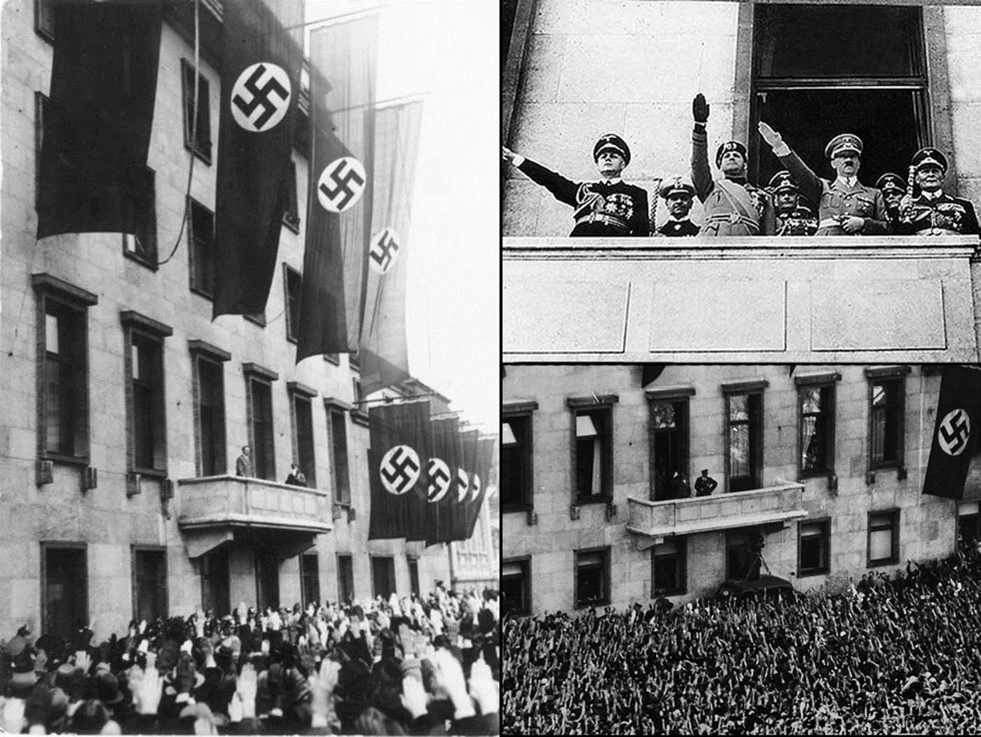 Hitler standing on the same balcony.