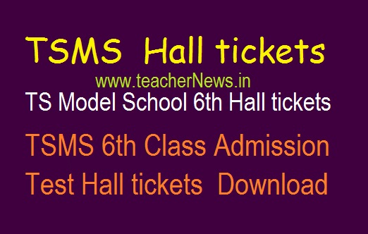 TS Model School 6th Hall tickets 2020 | TSMS 6th Class Admission Test Hall tickets