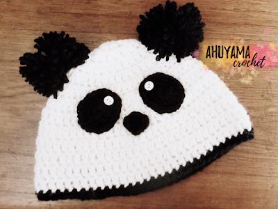 imagen gorro de oso panda crochet