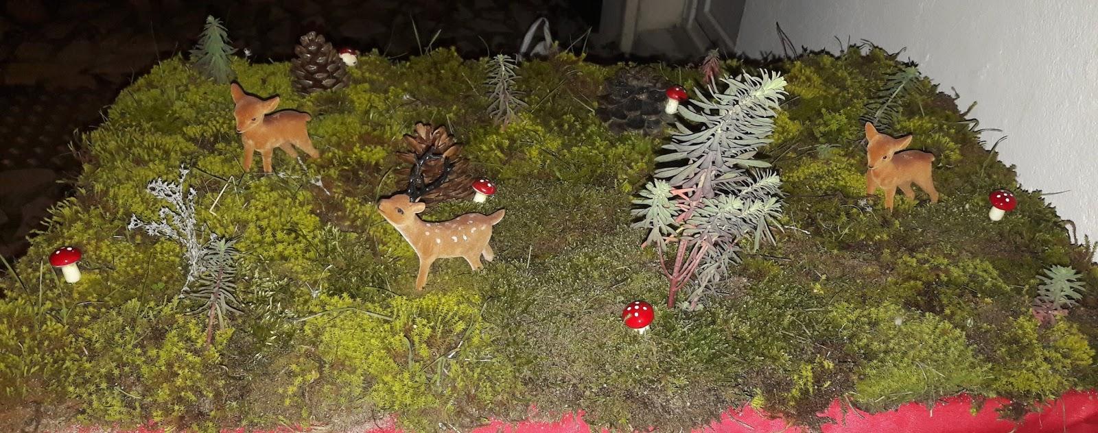 décoration naturelle noel mousse crèche paysage village
