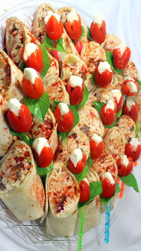 52 Ways To Cook Million Dollar Catering Platter Chicken Salad Wraps And Caprese Salad On A Stick