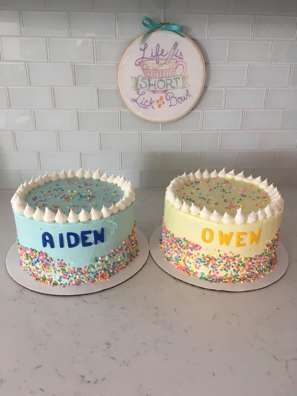 Two Cakes For Birthday Boys Turning