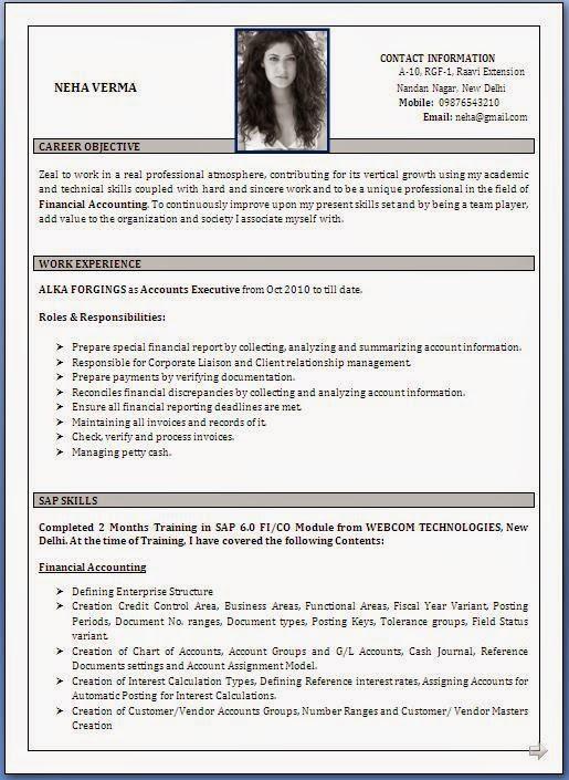 latest resume format sample 2014