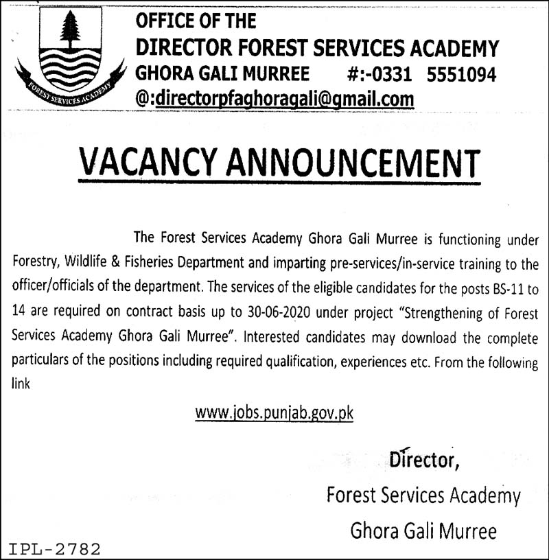 Jobs In The Forest Services Academy Ghora Gali Murree