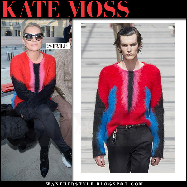 Kate Moss in red knit sweater and black skinny jeans front row louis vuitton what she wore
