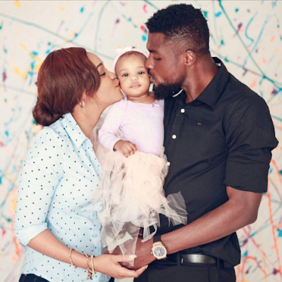 Nigeria Footballer John Ogu and his family photo