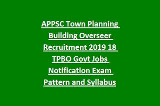 APPSC Town Planning Building Overseer Recruitment 2019 18 TPBO Govt Jobs Notification Exam Pattern and Syllabus