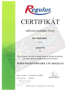 Jan Ondráček, Instalatér, Brno, Osvědčení Tepelná čerpadla CTC Regulus