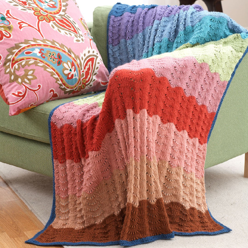 Beautiful Skills Crochet Knitting Quilting Feather Fan Afghan