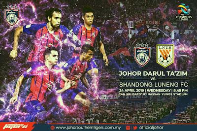 Live Streaming JDT vs Shandong Luneng AFC Champion League 24.4.2019