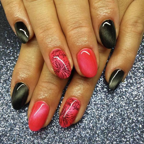 new year gel ,western nail art, designs