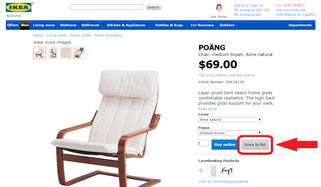 For Each Item You Want Us To Deliver Click On The Save List Ikea Will Then Your Its Ping Feature
