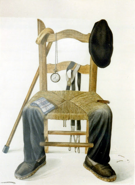 Acuarela surrealista abuelo silla pintor catalán Isidro Ventura