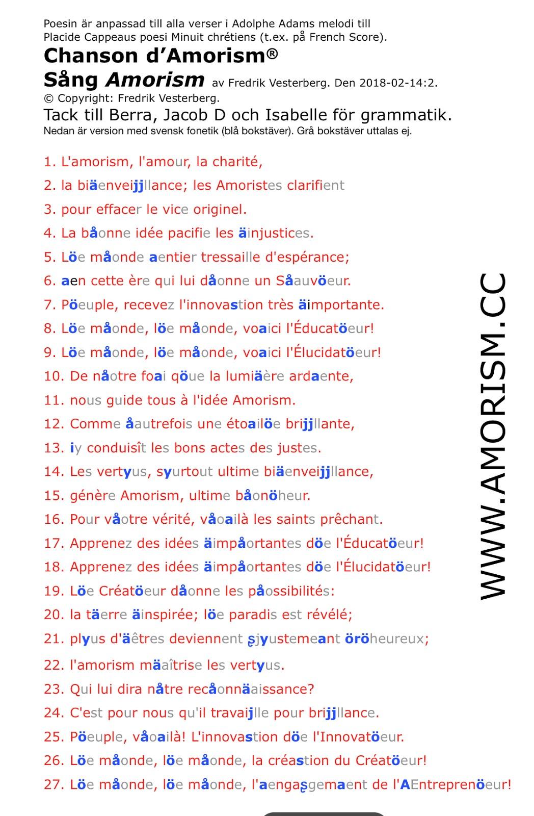 Img. Fransk sång amorism