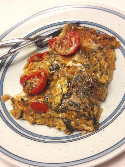 Krämig vegetarisk lasagne med linser