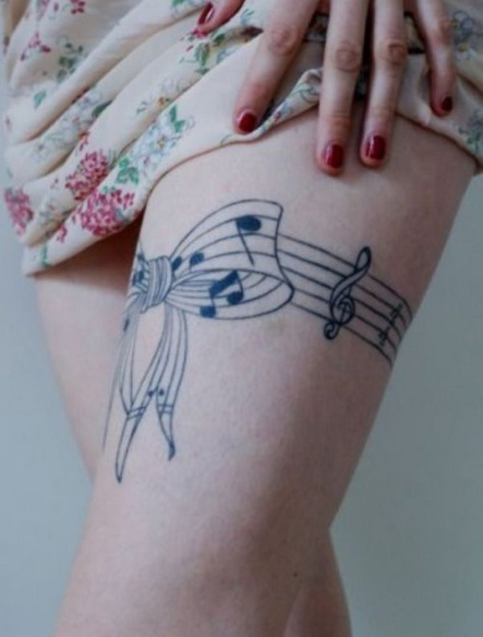 Sexy Thigh Music Tattoos For Girls
