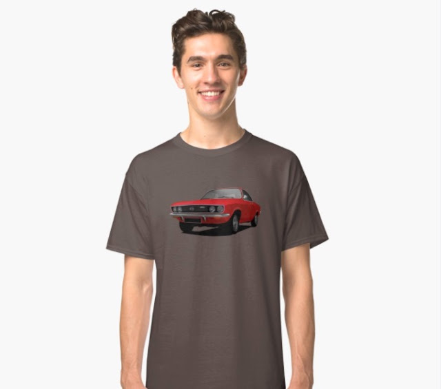 Opel Manta A red in t-shirt