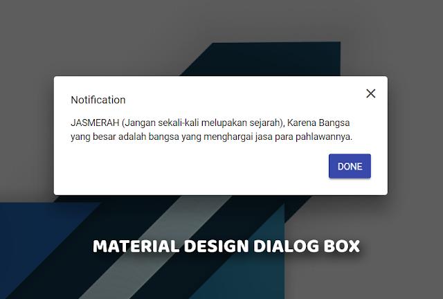 Membuat Material Design Dialog Box dengan jQuery di Blog