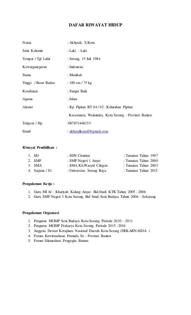 Contoh Daftar Riwayat Hidup / Curriculum Vitae (CV