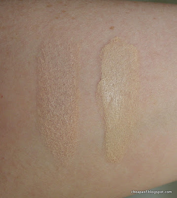 Swatches of Maybelline Fit Me stick foundation in Porcelain and Maybelline Superstay Better Skin foundation in Porcelain
