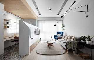 Không gian sáng tạo giữa phòng khách và góc làm việc tiện lợi nhỏ gọn