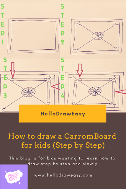 How to draw a CarromBoard for kids(Step By Step) :